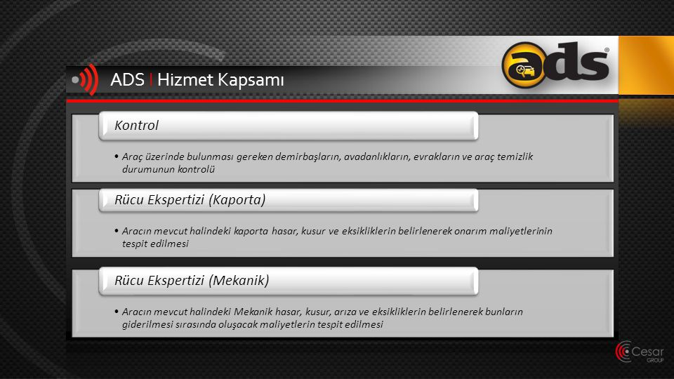 ADS I Hizmet Kapsamı Kontrol Rücu Ekspertizi (Kaporta)
