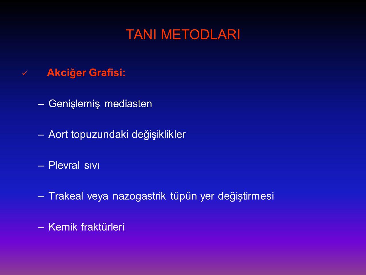 TANI METODLARI Genişlemiş mediasten Aort topuzundaki değişiklikler