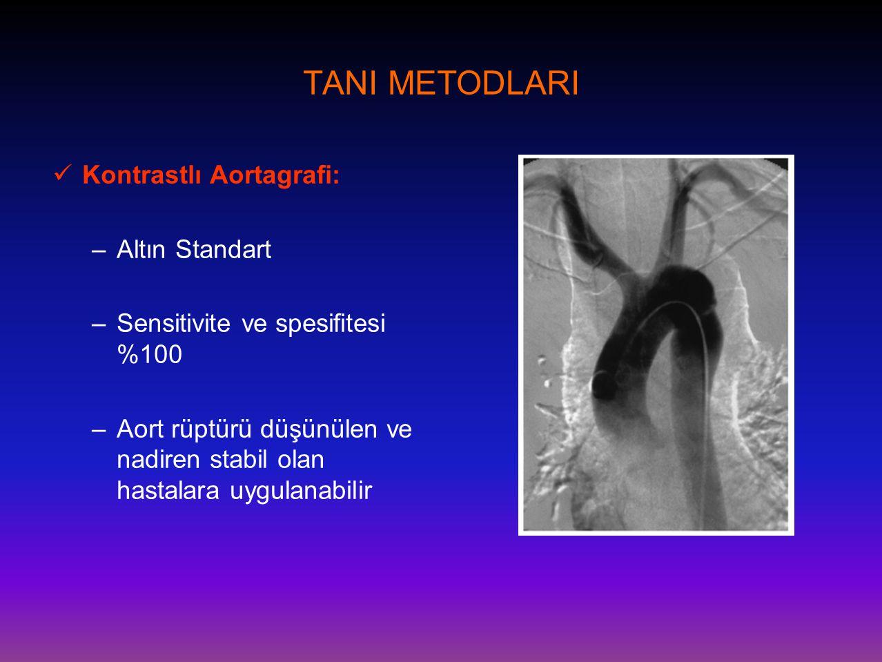 TANI METODLARI Kontrastlı Aortagrafi: Altın Standart