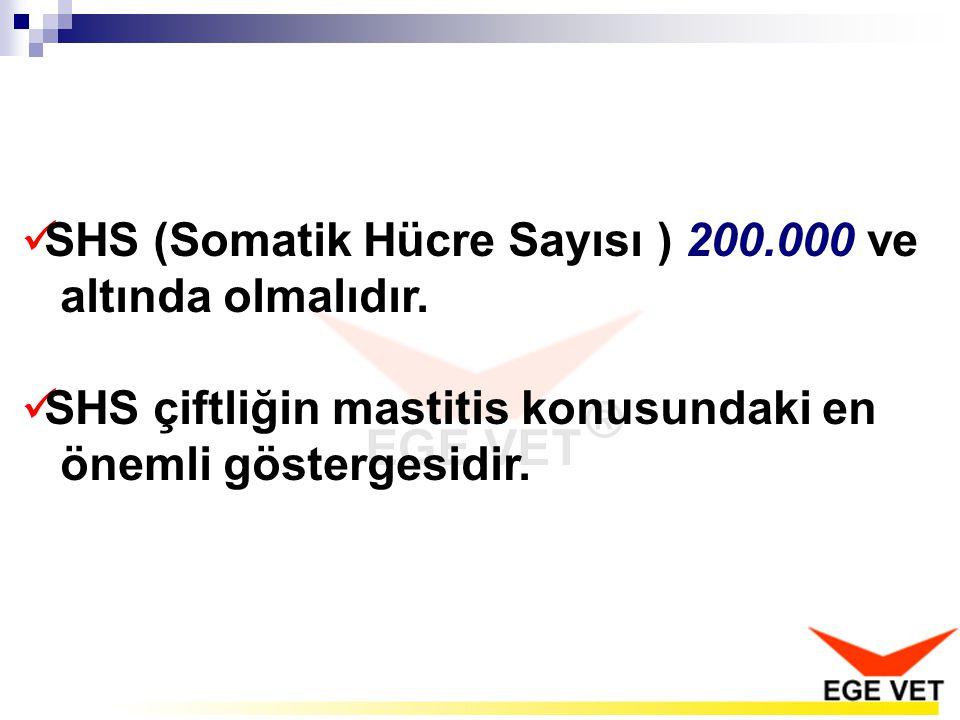 SHS (Somatik Hücre Sayısı ) 200.000 ve altında olmalıdır.