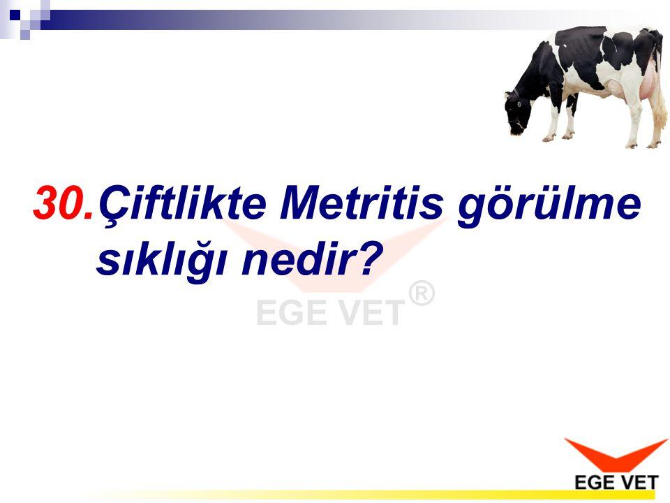 30.Çiftlikte Metritis görülme sıklığı nedir