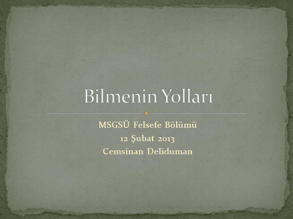 MSGSÜ Felsefe Bölümü 12 Şubat 2013 Cemsinan Deliduman