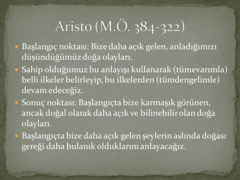 Aristo (M.Ö. 384-322) Başlangıç noktası: Bize daha açık gelen, anladığımızı düşündüğümüz doğa olayları.