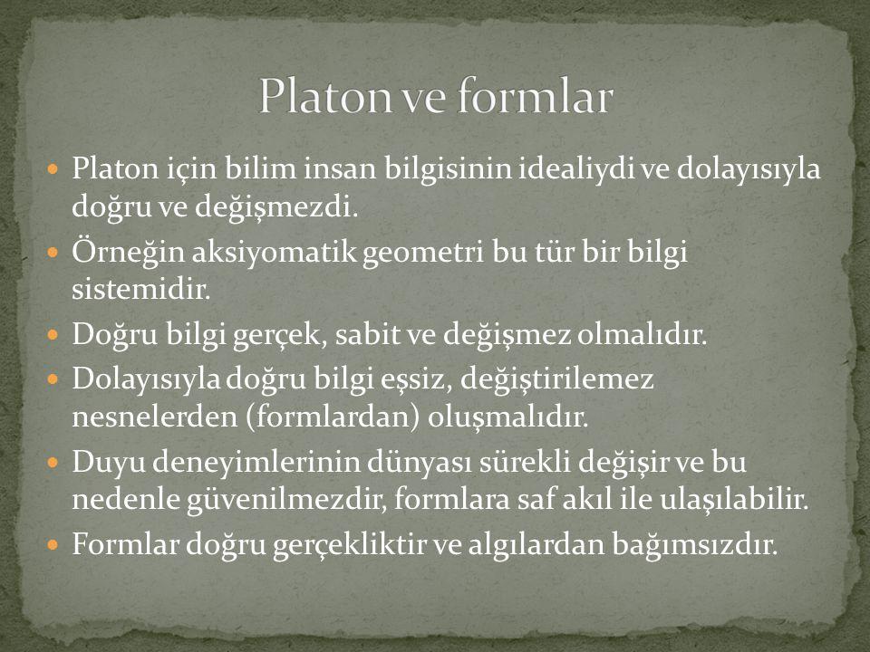 Platon ve formlar Platon için bilim insan bilgisinin idealiydi ve dolayısıyla doğru ve değişmezdi.