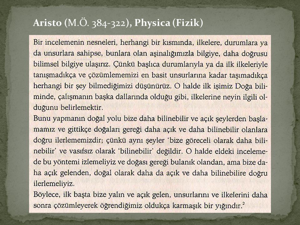 Aristo (M.Ö ), Physica (Fizik)