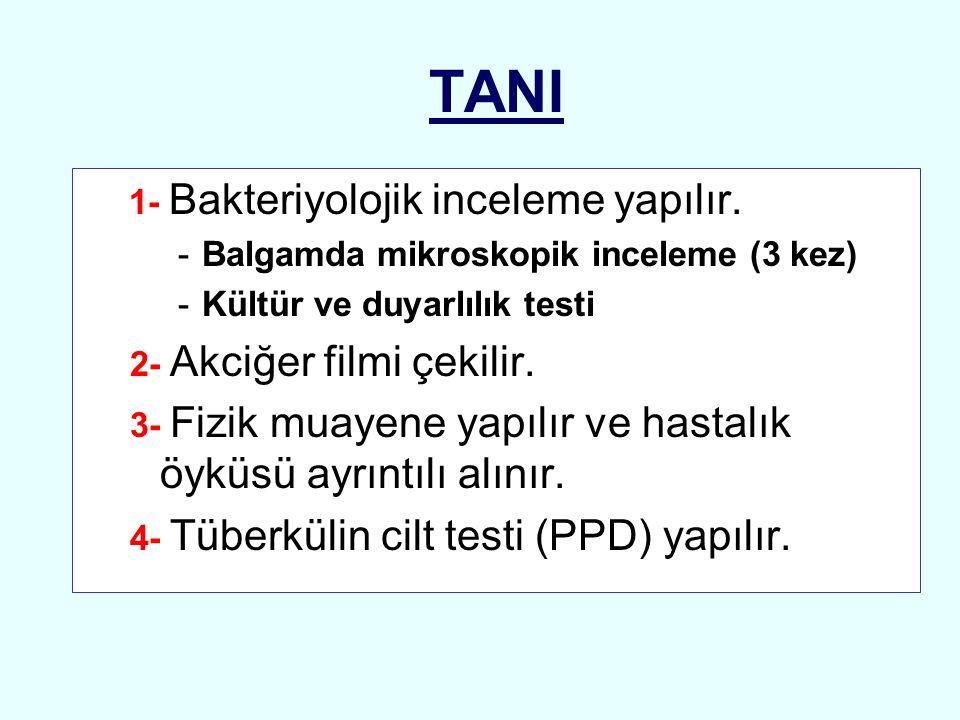 TANI 1- Bakteriyolojik inceleme yapılır.