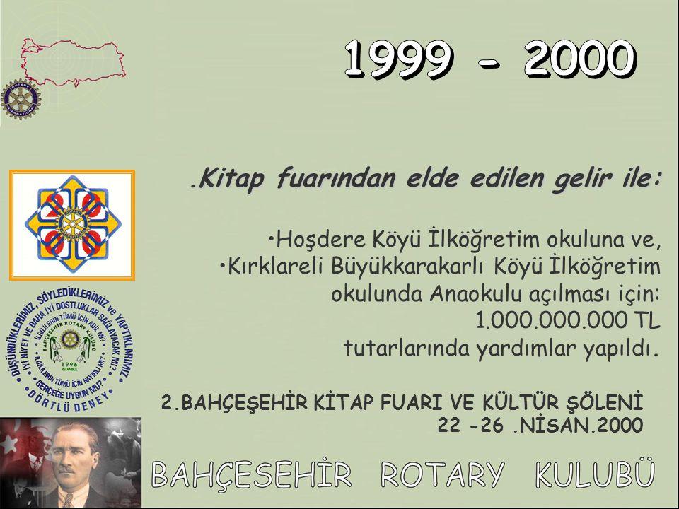 1999 - 2000 .Kitap fuarından elde edilen gelir ile: