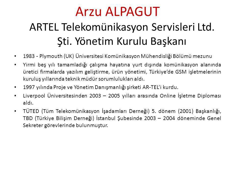 Arzu ALPAGUT ARTEL Telekomünikasyon Servisleri Ltd. Şti