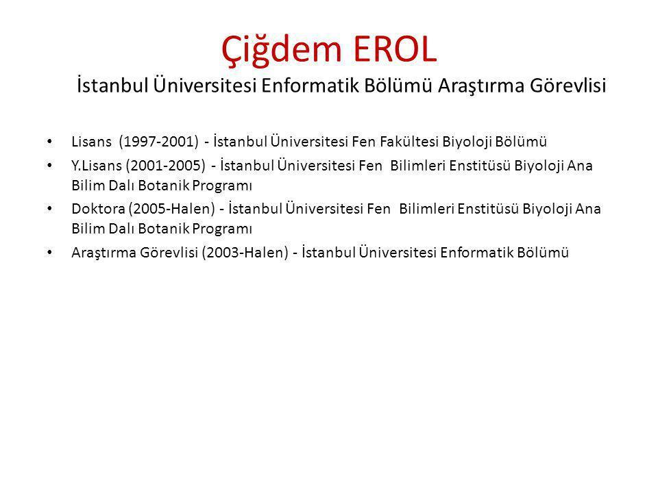 Çiğdem EROL İstanbul Üniversitesi Enformatik Bölümü Araştırma Görevlisi