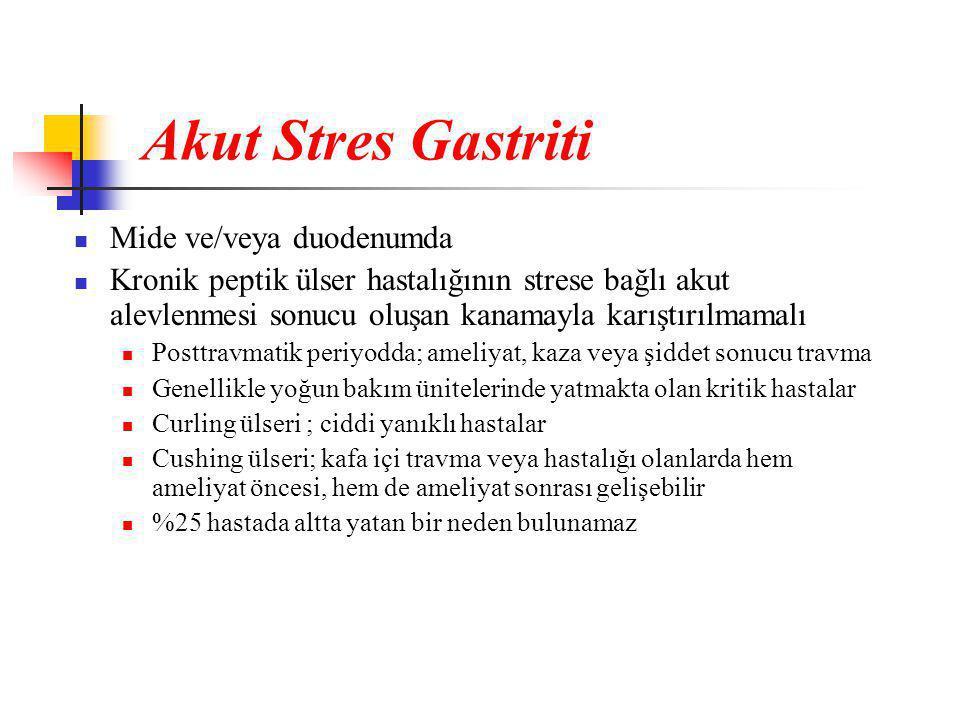 Akut Stres Gastriti Mide ve/veya duodenumda