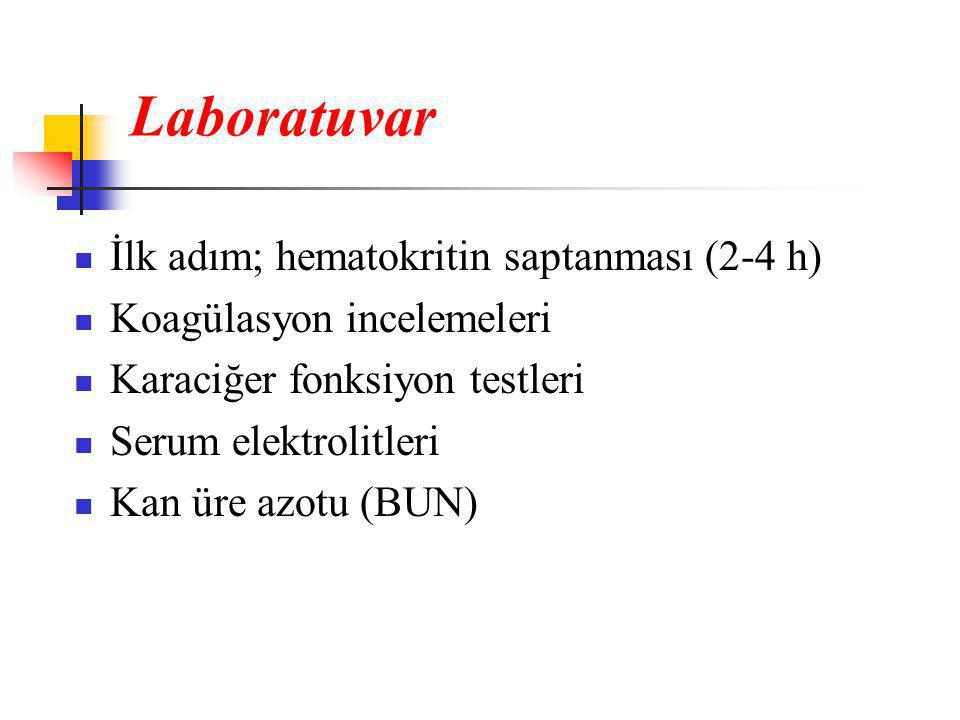 Laboratuvar İlk adım; hematokritin saptanması (2-4 h)