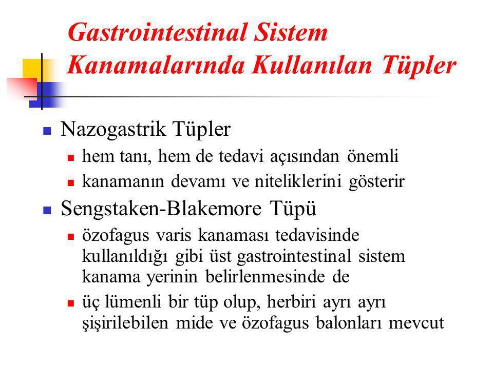 Gastrointestinal Sistem Kanamalarında Kullanılan Tüpler