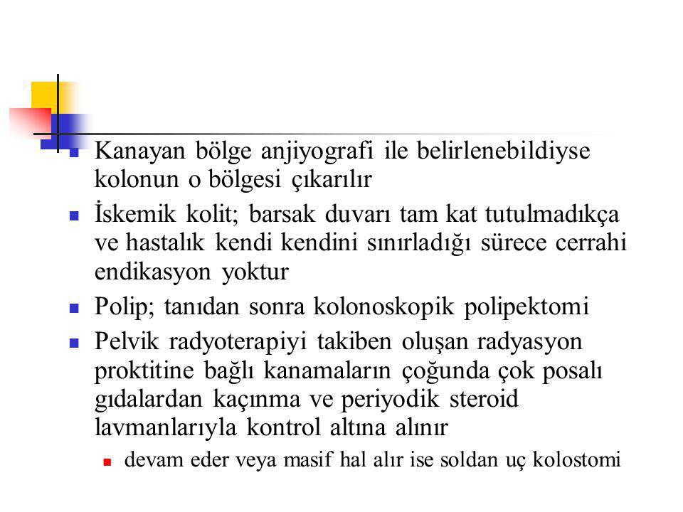 Polip; tanıdan sonra kolonoskopik polipektomi