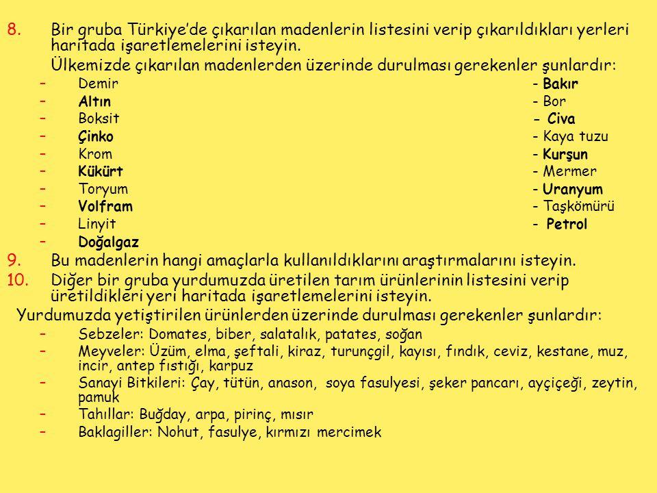 Bir gruba Türkiye'de çıkarılan madenlerin listesini verip çıkarıldıkları yerleri haritada işaretlemelerini isteyin.