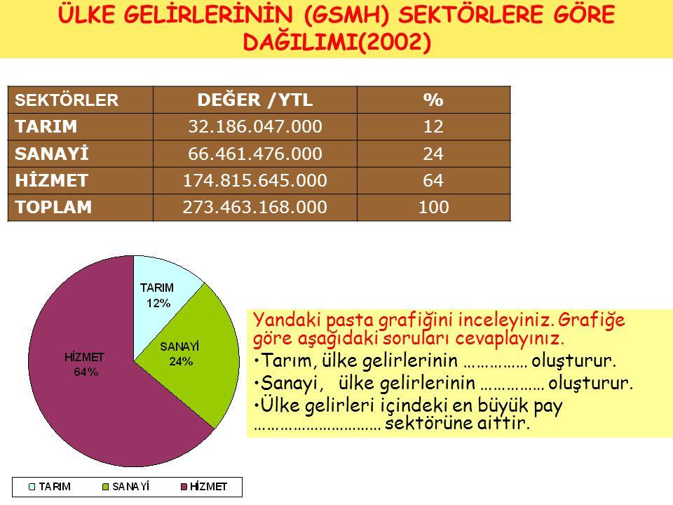 ÜLKE GELİRLERİNİN (GSMH) SEKTÖRLERE GÖRE DAĞILIMI(2002)