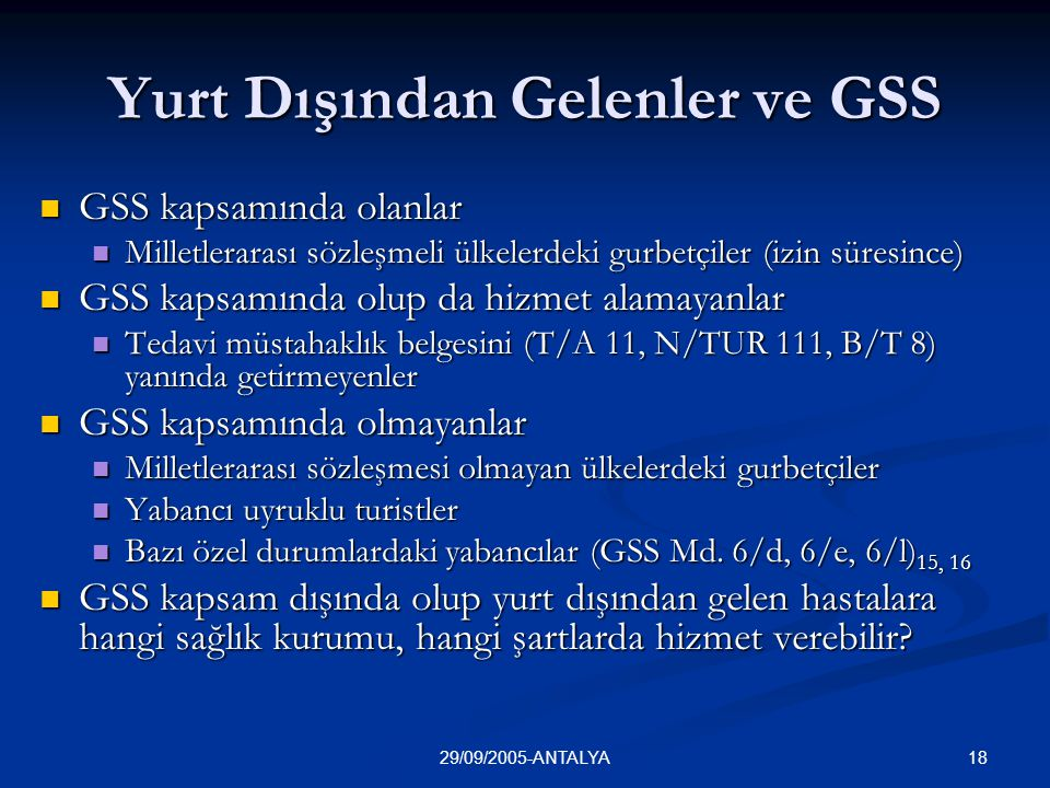 Yurt Dışından Gelenler ve GSS
