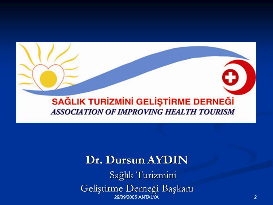 Dr. Dursun AYDIN Sağlık Turizmini Geliştirme Derneği Başkanı