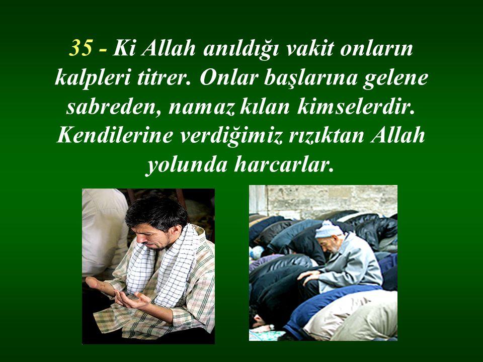35 - Ki Allah anıldığı vakit onların kalpleri titrer