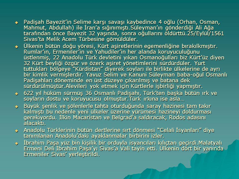 Padişah Bayezit'in Selime karşı savaşı kaybedince 4 oğlu (Orhan, Osman, Mahmut, Abdullah) ile İran'a sığınımıştı.Süleyman'ın gönderdiği Ali Ağa tarafından önce Bayezit 32 yaşında, sonra oğullarını öldürttü.25/Eylül/1561 Sivas'ta Melik Acem Türbesine gömüldüler.