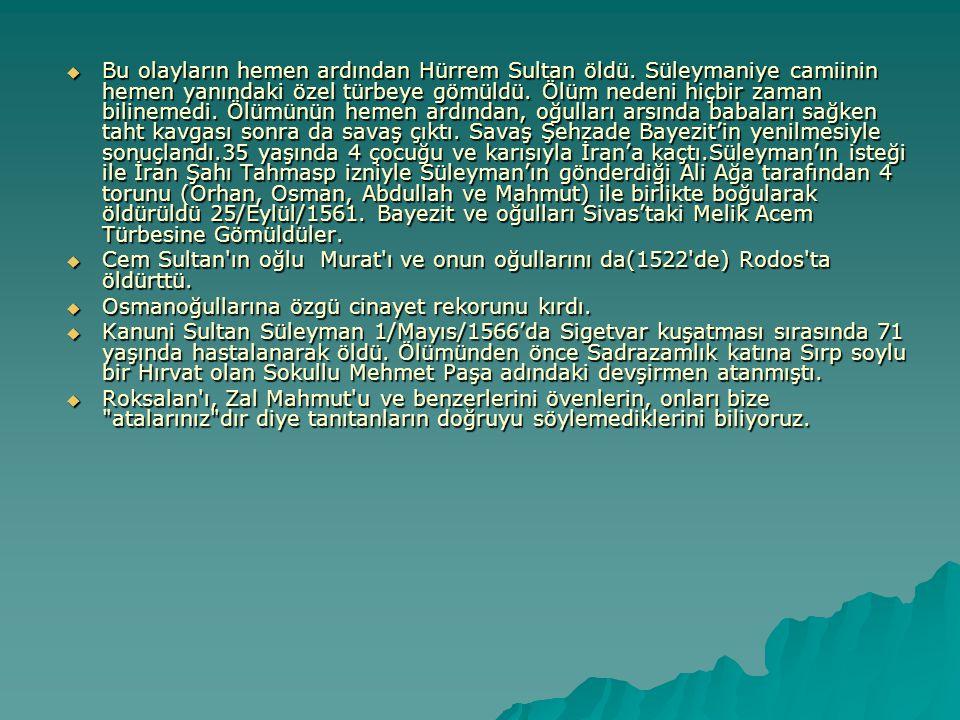 Bu olayların hemen ardından Hürrem Sultan öldü