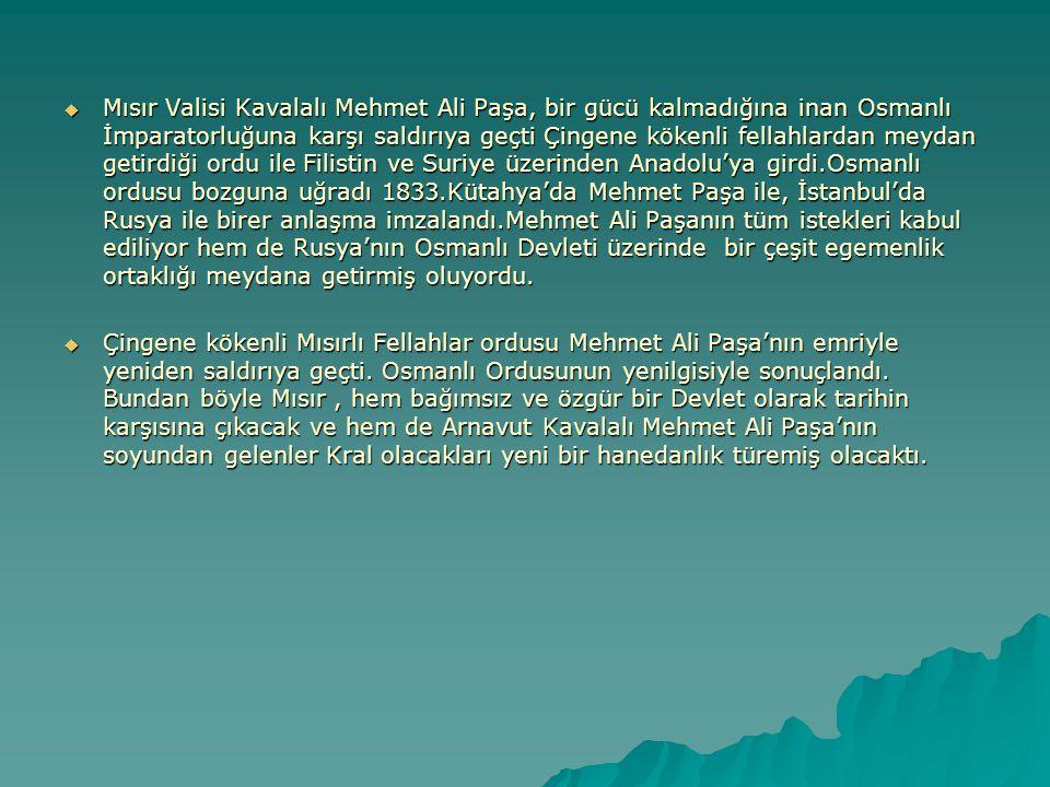 Mısır Valisi Kavalalı Mehmet Ali Paşa, bir gücü kalmadığına inan Osmanlı İmparatorluğuna karşı saldırıya geçti Çingene kökenli fellahlardan meydan getirdiği ordu ile Filistin ve Suriye üzerinden Anadolu'ya girdi.Osmanlı ordusu bozguna uğradı 1833.Kütahya'da Mehmet Paşa ile, İstanbul'da Rusya ile birer anlaşma imzalandı.Mehmet Ali Paşanın tüm istekleri kabul ediliyor hem de Rusya'nın Osmanlı Devleti üzerinde bir çeşit egemenlik ortaklığı meydana getirmiş oluyordu.