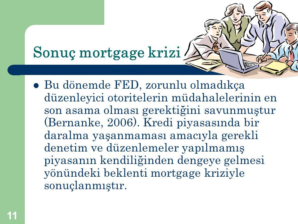 Sonuç mortgage krizi