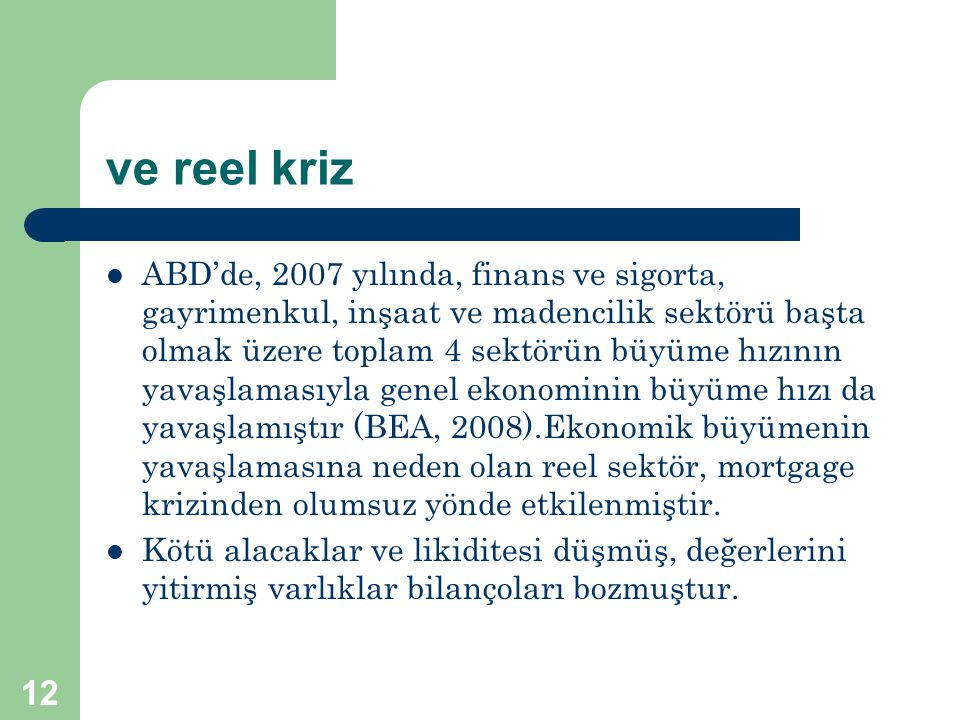 ve reel kriz