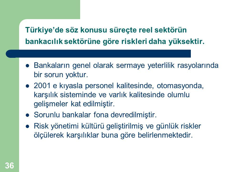 Türkiye'de söz konusu süreçte reel sektörün bankacılık sektörüne göre riskleri daha yüksektir.