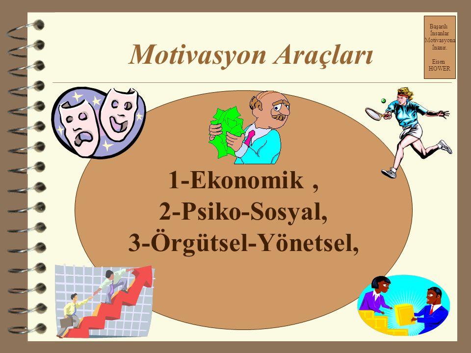 Motivasyon Araçları 1-Ekonomik , 2-Psiko-Sosyal, 3-Örgütsel-Yönetsel,