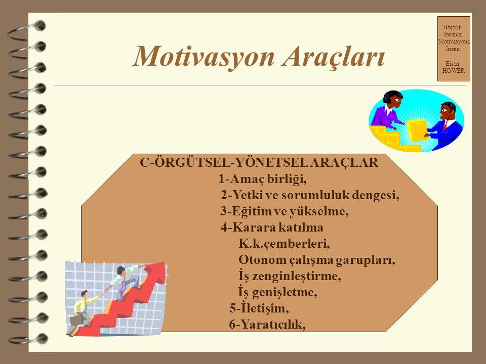 Motivasyon Araçları C-ÖRGÜTSEL-YÖNETSEL ARAÇLAR 1-Amaç birliği,