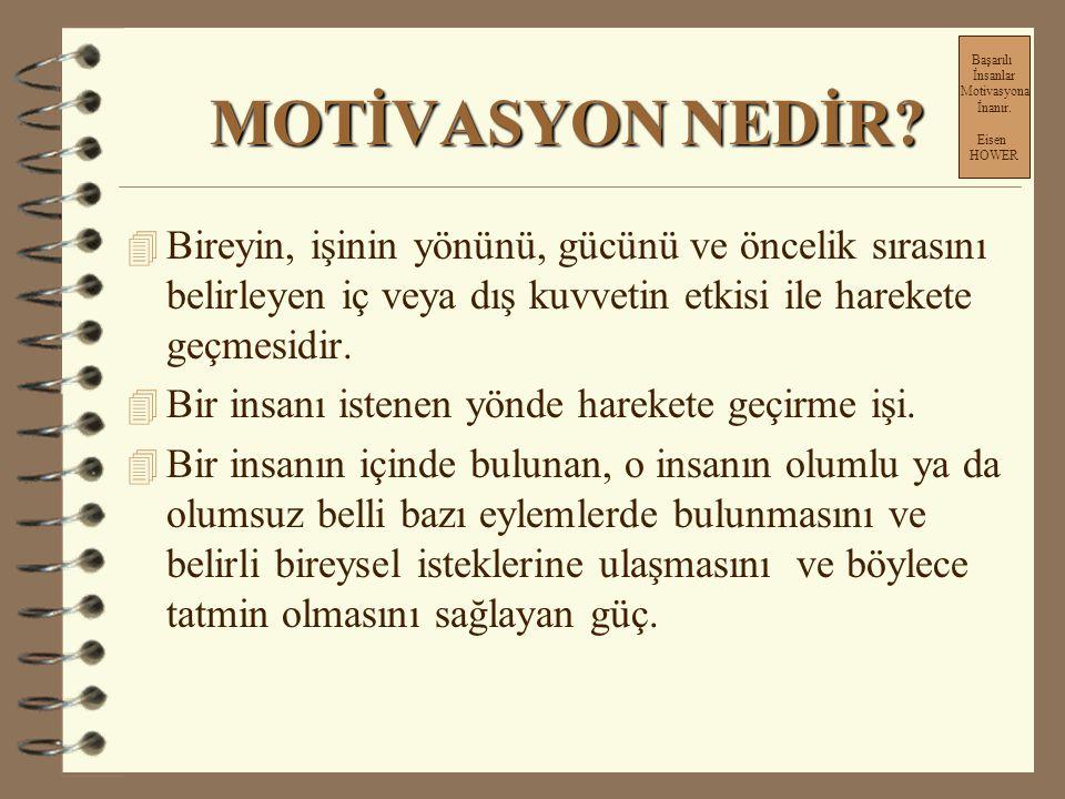Başarılı İnsanlar. Motivasyona. İnanır. Eisen. HOWER. MOTİVASYON NEDİR