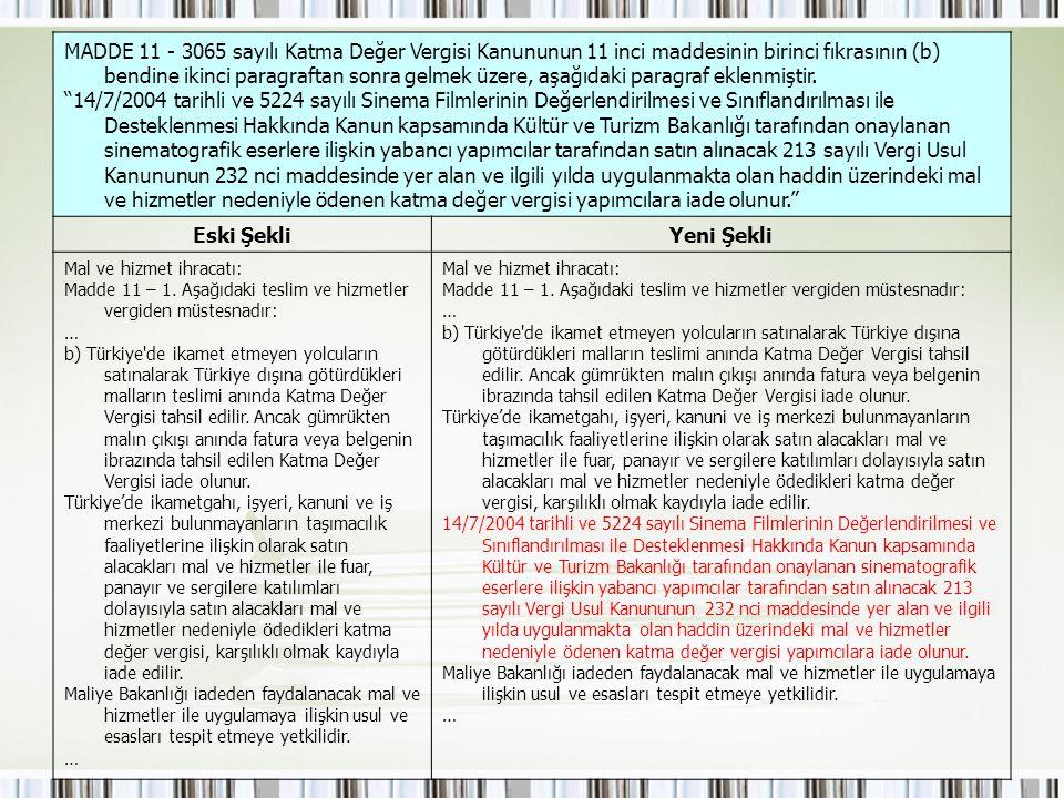 MADDE 11 - 3065 sayılı Katma Değer Vergisi Kanununun 11 inci maddesinin birinci fıkrasının (b) bendine ikinci paragraftan sonra gelmek üzere, aşağıdaki paragraf eklenmiştir.