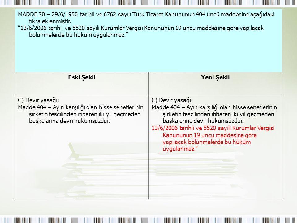 MADDE 30 – 29/6/1956 tarihli ve 6762 sayılı Türk Ticaret Kanununun 404 üncü maddesine aşağıdaki fıkra eklenmiştir.
