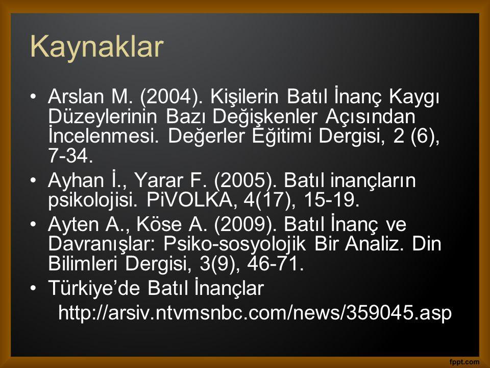 Kaynaklar Arslan M. (2004). Kişilerin Batıl İnanç Kaygı Düzeylerinin Bazı Değişkenler Açısından İncelenmesi. Değerler Eğitimi Dergisi, 2 (6), 7-34.