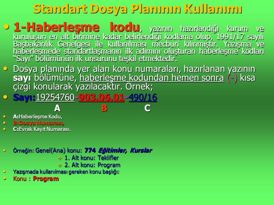 Standart Dosya Planının Kullanımı