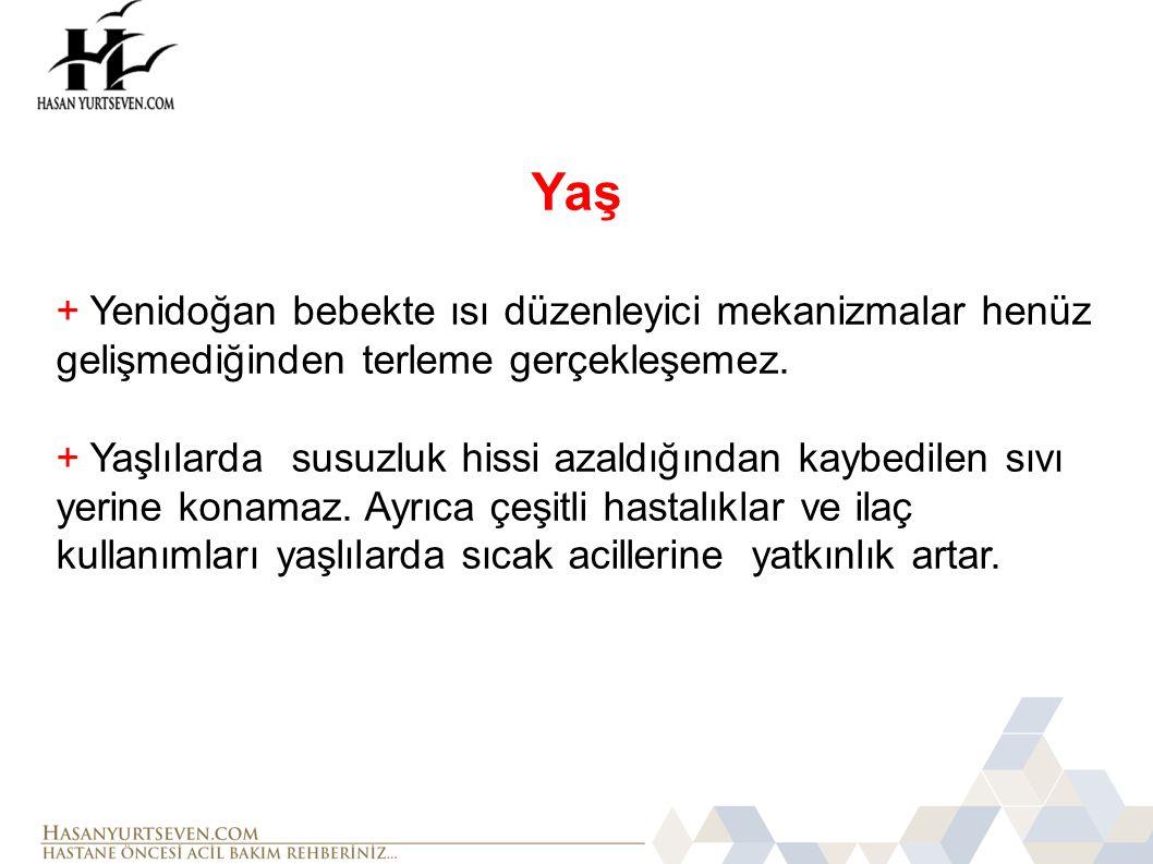 Yaş + Yenidoğan bebekte ısı düzenleyici mekanizmalar henüz gelişmediğinden terleme gerçekleşemez.