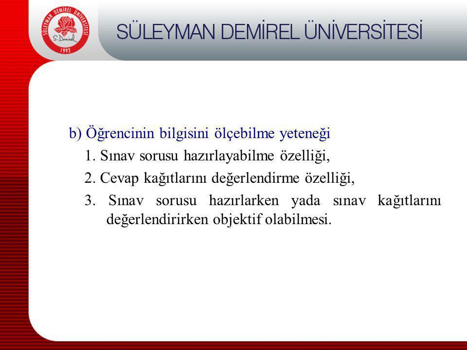 b) Öğrencinin bilgisini ölçebilme yeteneği