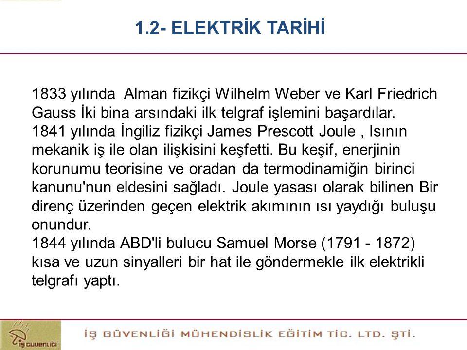 1.2- ELEKTRİK TARİHİ 1833 yılında Alman fizikçi Wilhelm Weber ve Karl Friedrich Gauss İki bina arsındaki ilk telgraf işlemini başardılar.