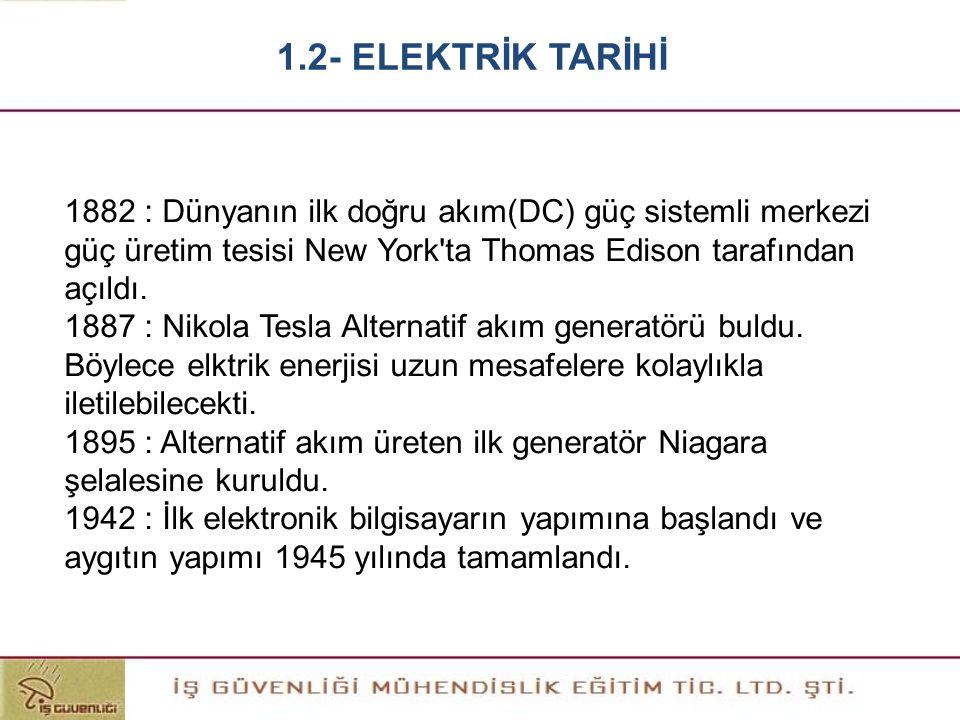 1.2- ELEKTRİK TARİHİ 1882 : Dünyanın ilk doğru akım(DC) güç sistemli merkezi güç üretim tesisi New York ta Thomas Edison tarafından açıldı.