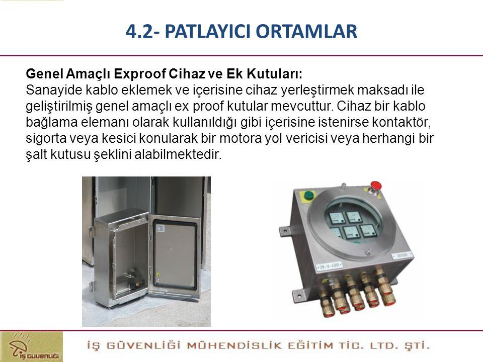 4.2- PATLAYICI ORTAMLAR Genel Amaçlı Exproof Cihaz ve Ek Kutuları: