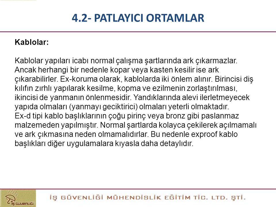 4.2- PATLAYICI ORTAMLAR Kablolar: