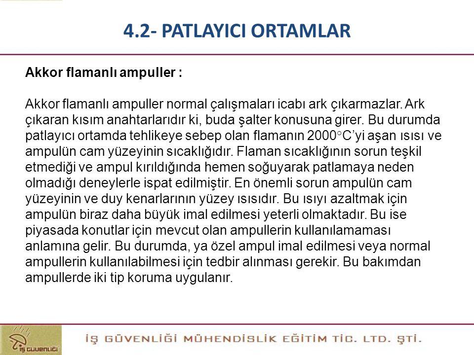4.2- PATLAYICI ORTAMLAR Akkor flamanlı ampuller :