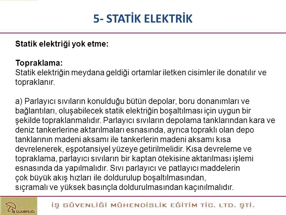 5- STATİK ELEKTRİK Statik elektriği yok etme: Topraklama: