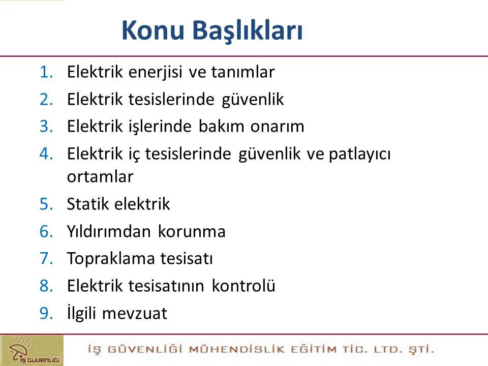 Konu Başlıkları Elektrik enerjisi ve tanımlar