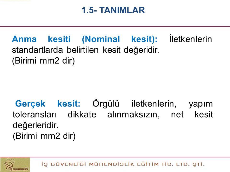 1.5- TANIMLAR Anma kesiti (Nominal kesit): İletkenlerin standartlarda belirtilen kesit değeridir. (Birimi mm2 dir)