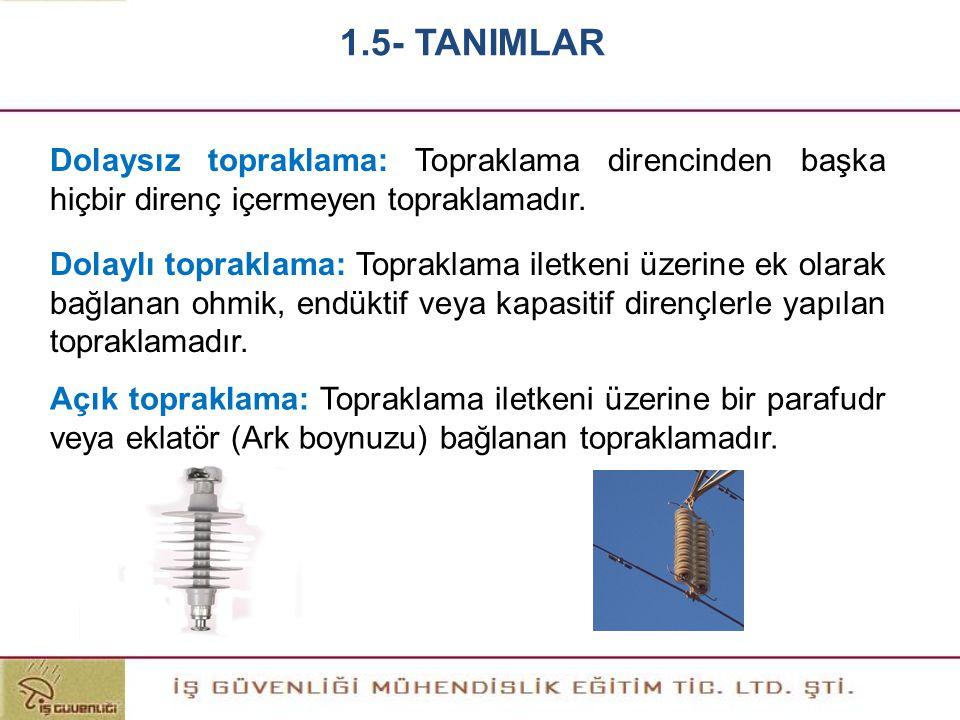 1.5- TANIMLAR Dolaysız topraklama: Topraklama direncinden başka hiçbir direnç içermeyen topraklamadır.