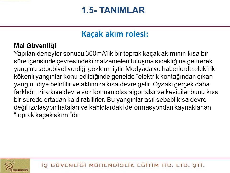 1.5- TANIMLAR Kaçak akım rolesi: Mal Güvenliği