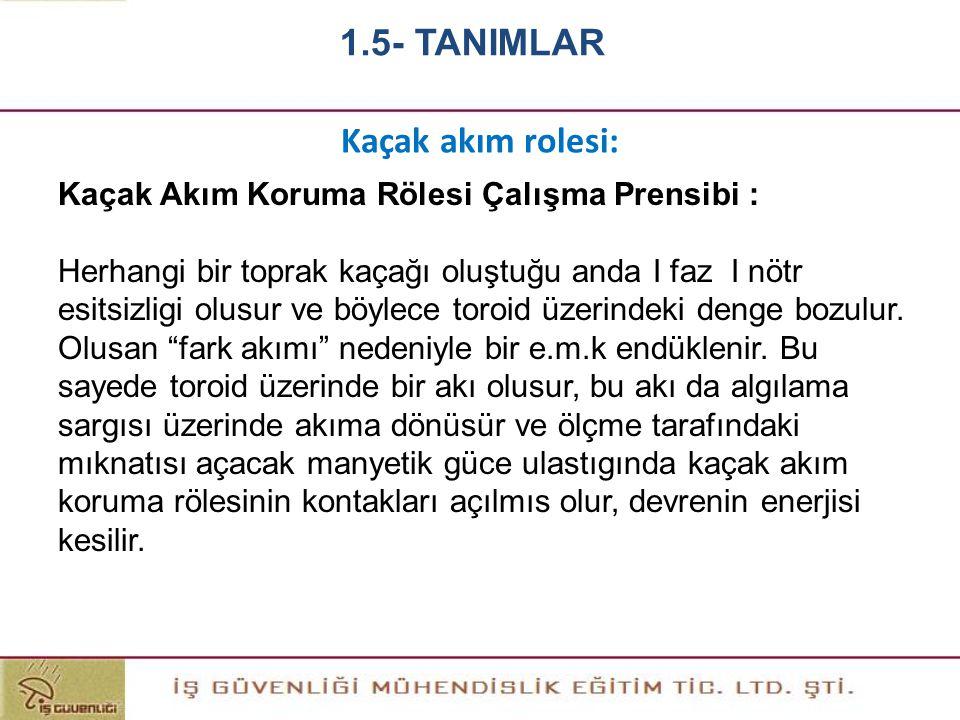 1.5- TANIMLAR Kaçak akım rolesi: