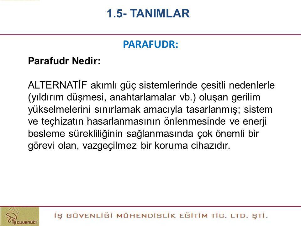 1.5- TANIMLAR PARAFUDR: Parafudr Nedir: