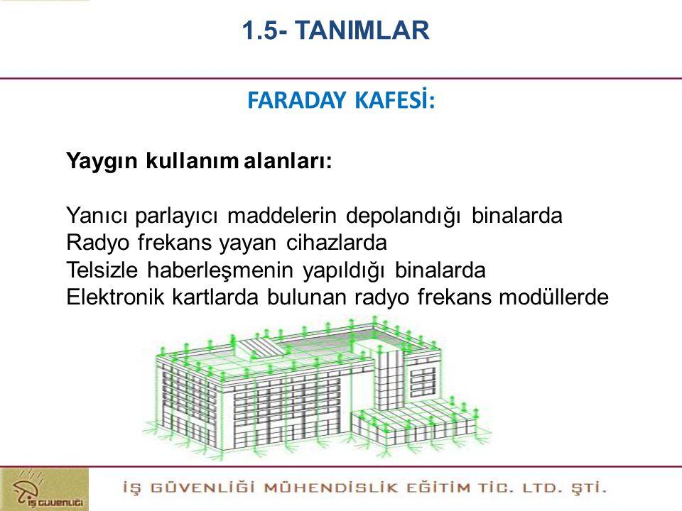 1.5- TANIMLAR FARADAY KAFESİ: Yaygın kullanım alanları: